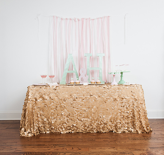 pink gold and mint dessert table from Undercover Hostess @weddingchicks