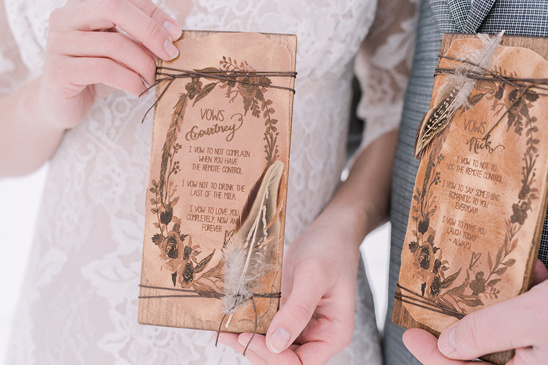 his and hers wood and leather wedding vows @weddingchicks