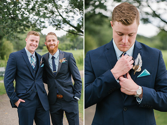 classy groomsmen with feather boutonnieres @weddingchicks
