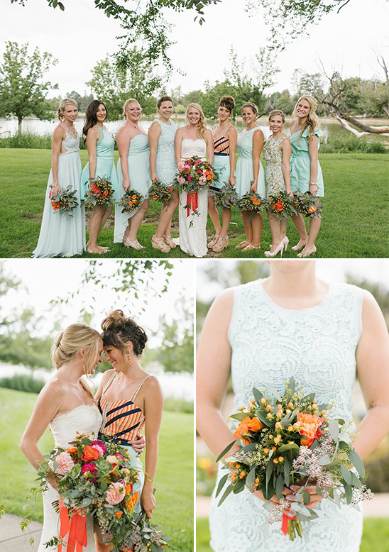 variety of mint bridesmaid dresses @weddingchicks