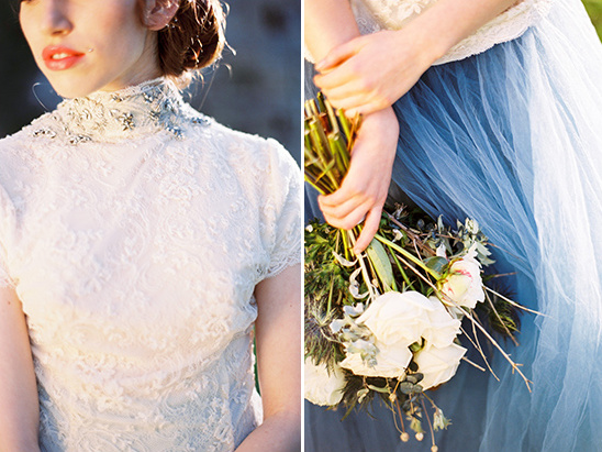 lace and blue tulle detail @weddingchicks