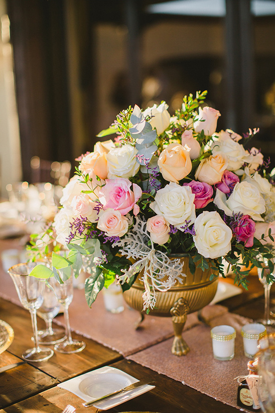 warm pastel floral centerpiece @weddingchicks
