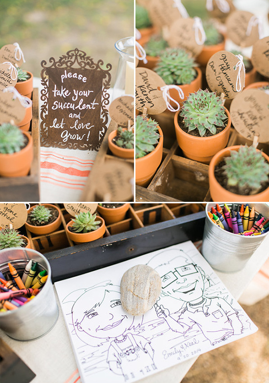 succulent escort cards and coloring pages @weddingchicks