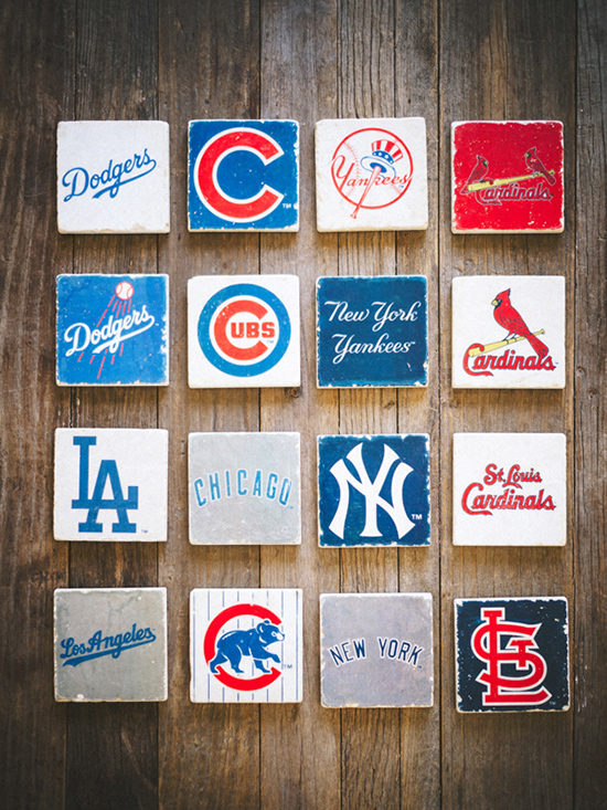 MLB marble coasters @weddingchicks