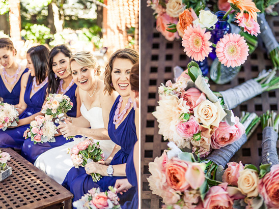 bridesmaid in blue with rose bouquets @weddingchicks