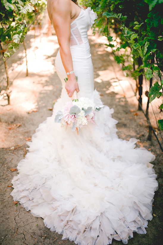 strapless and ruffled Hayley Paige wedding dress @weddingchicks