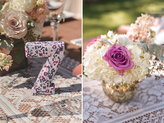 floral patterned table numbers @weddingchicks