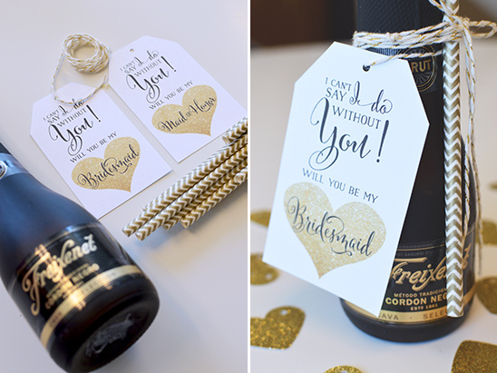 diy bridesmaid gift @weddingchicks #alllovesparkles #freixenetusa #blackbottlebubbly