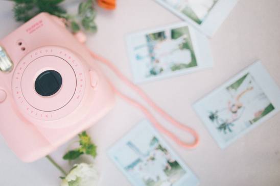 pink polaroid camera for photo guest book @weddingchicks