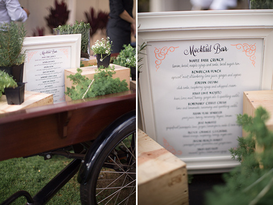 mocktail menu @weddingchicks
