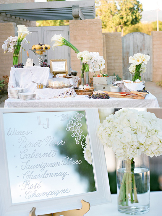 elegant wedding food display and wine list @weddingchicks