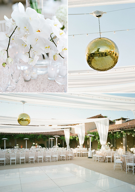 class up your dance floor with a gold disco ball @weddingchicks