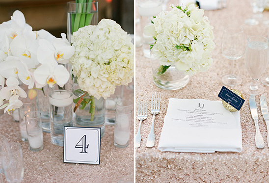classy table numbers and sequin table cloths @weddingchicks