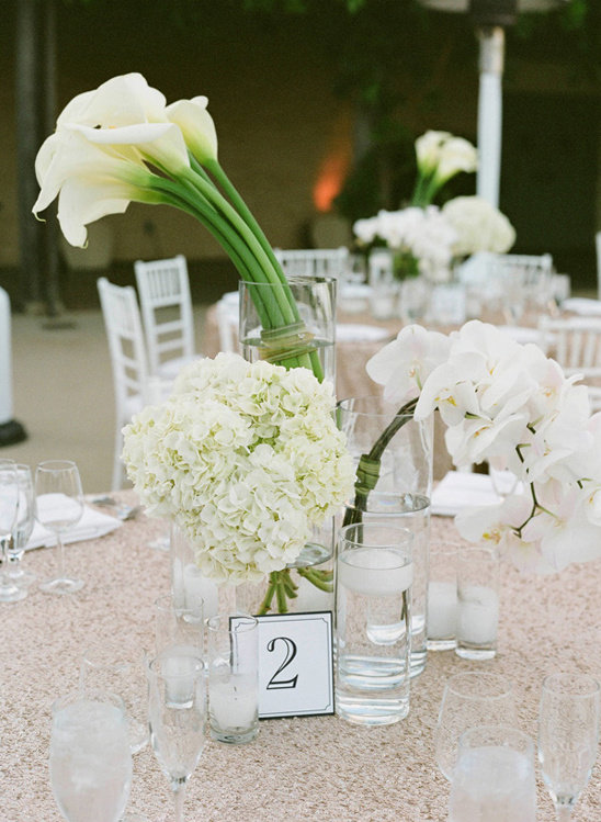 modern lily orchid and hydrangea centerpiece @weddingchick