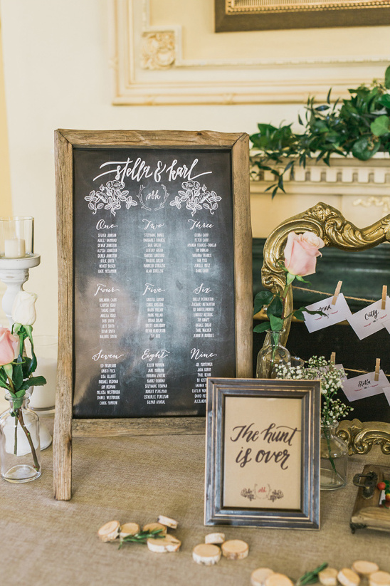 rustic themed seating assignment display @weddingchicks