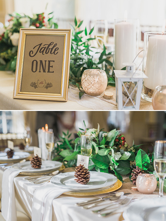 pine cone place card holders and framed table numbers @weddingchicks