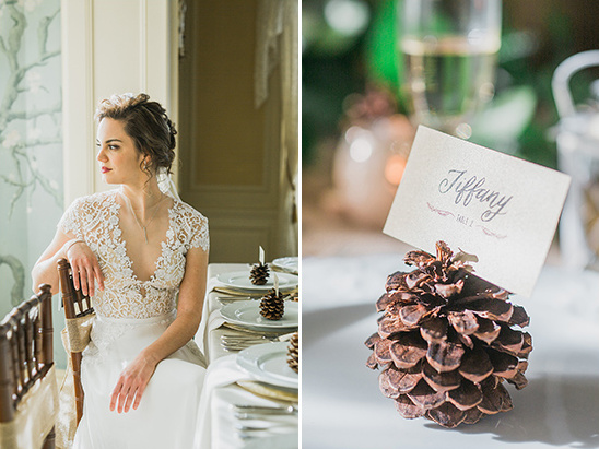 Kleinfeld Bridal Boutique wedding dress and pine cone placecard @weddingchicks