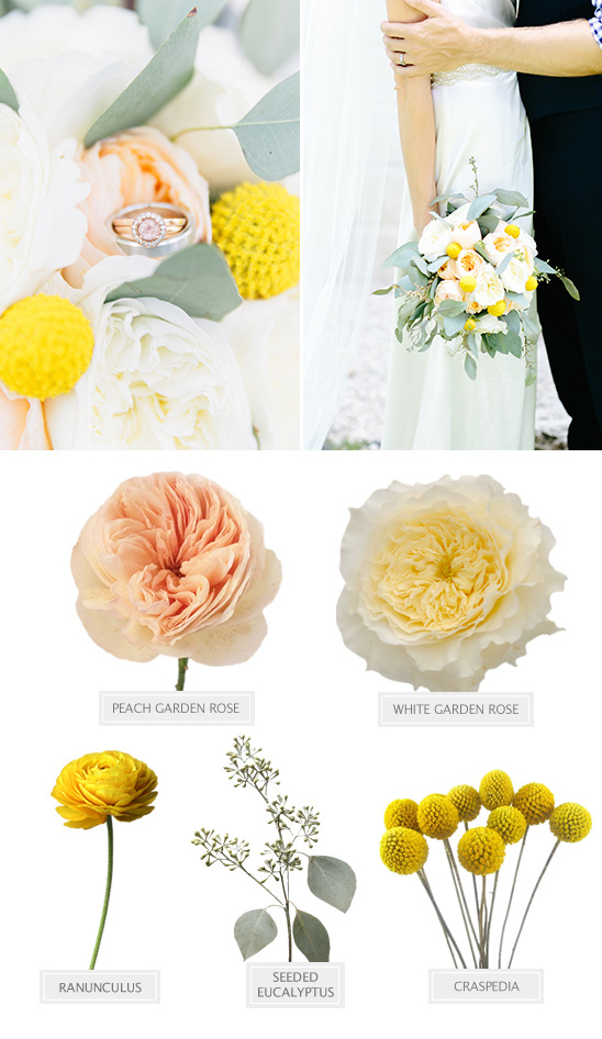 yellow and peach bouquet recipe @weddingchicks