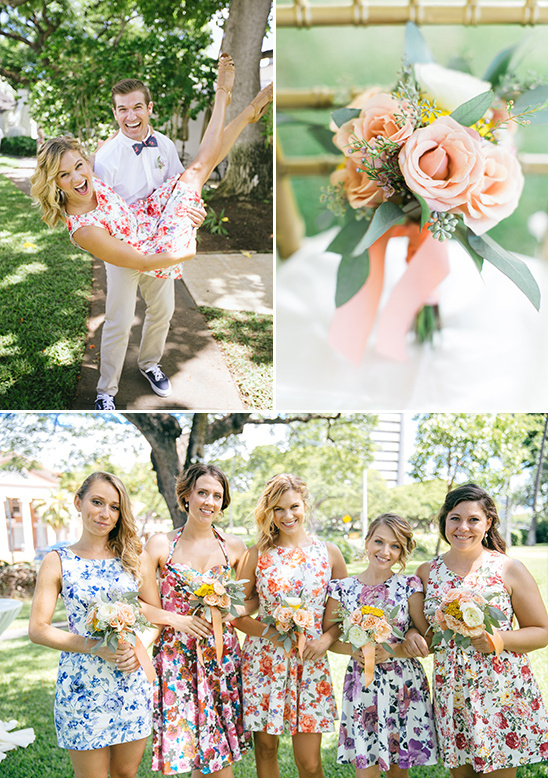adroable floral printed bridesmaid dresses @weddingchicks