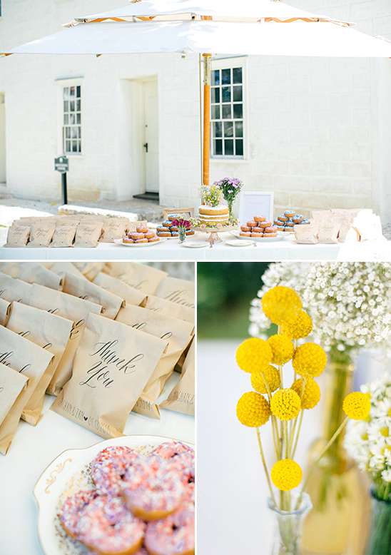 donut and cake table with cute thank you favor bags @weddingchicks