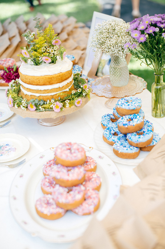 cake and donut table for a morning wedding @weddingchicks