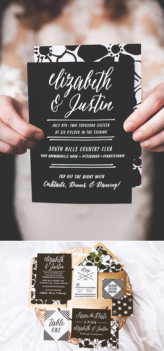black and white wedding invitations @weddingchicks