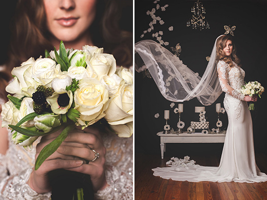 white bouquet and flowing veil @weddingchicks