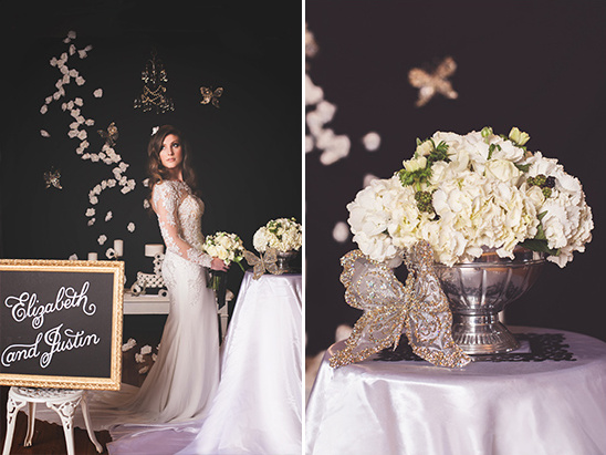 glamorous black and white decor @weddingchicks