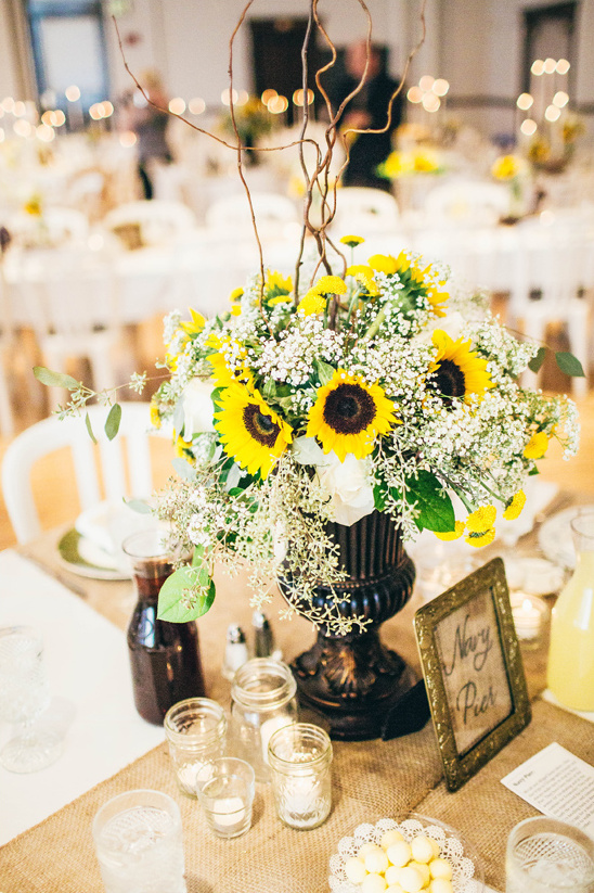 Bright bright sunflower wedding day burlap babys breath and sunflower reception weddingchicks junglespirit Gallery