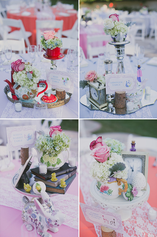 Alice in Wonderland themed centerpieces @weddingchicks