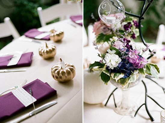 purple linens and flowers @weddingchicks