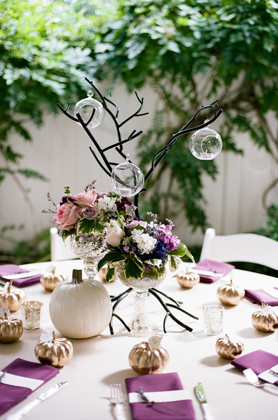 purple and tree center pieces @weddingchicks
