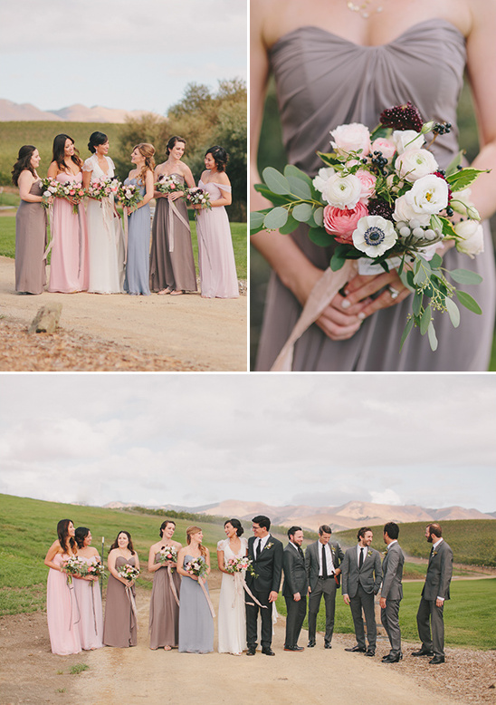 pink blue and grey bridal party @weddingchicks