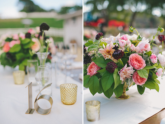 metal table numbers and flowers @weddingchicks