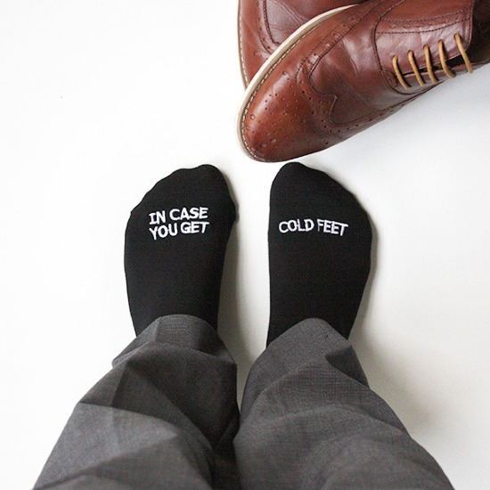 Don't let him get cold feet! Snag these from GroomSocks. @weddingchicks