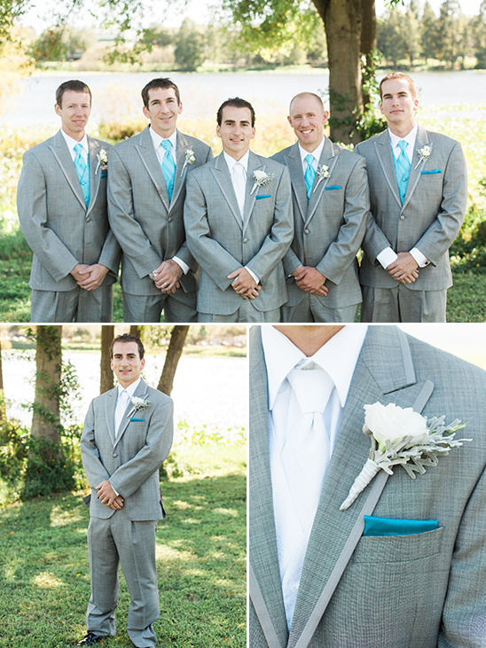 teal and blue groomsman suits @weddingchicks