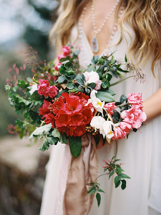 pink and red blossom bouquet