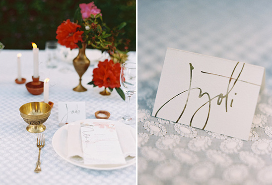 metallic script place cards