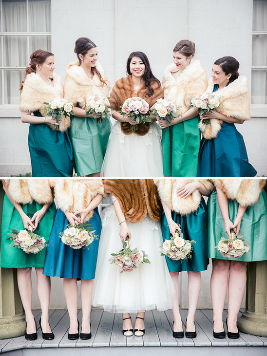 bridesmaids in shades of blue and green @weddingchicks