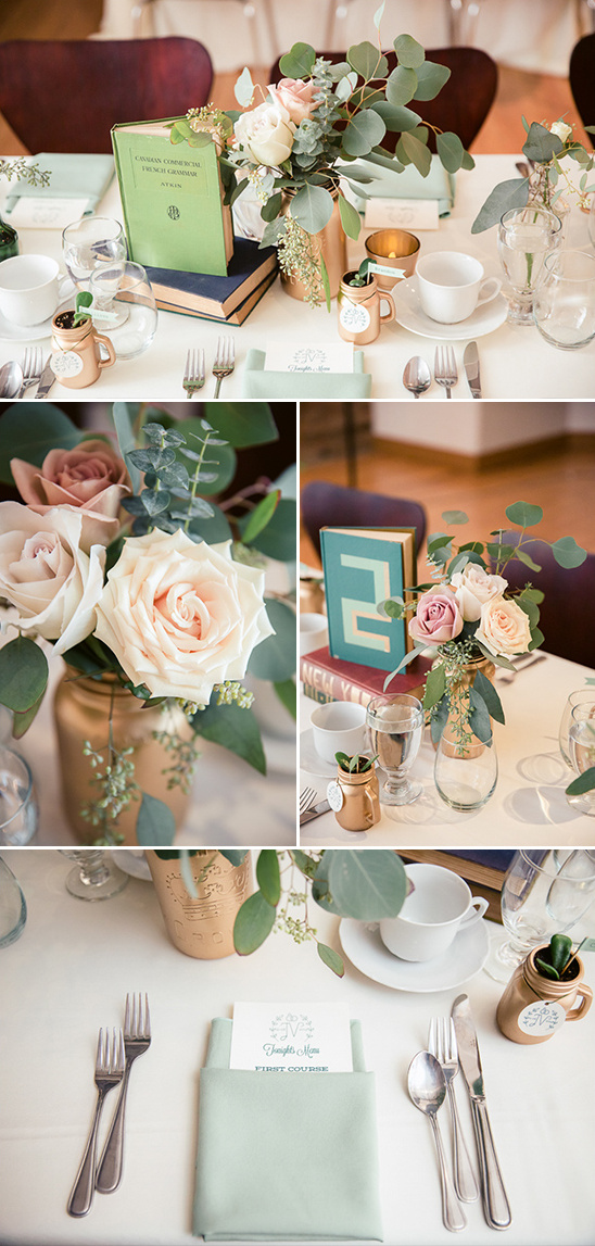 gold blue and green table decor @weddingchicks