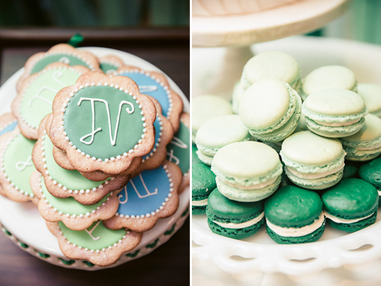 green sugar cookies and macorns @weddingchicks