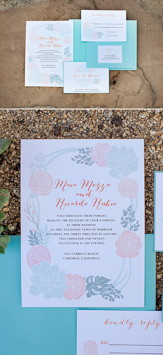 green and blush floral stationery @weddingchicks