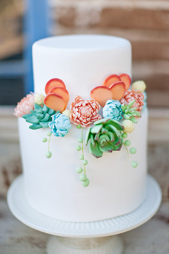 white wedding cake with sugar succulents @weddingchicks