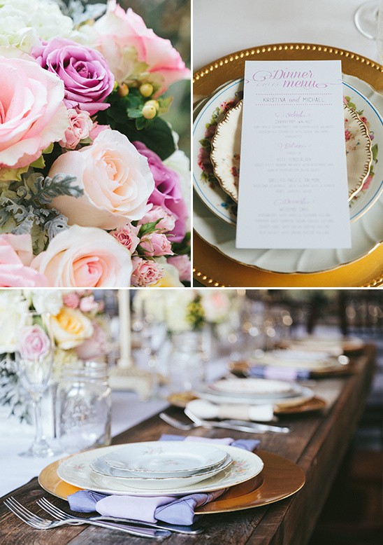 roses and mix and matched china @weddingchicks