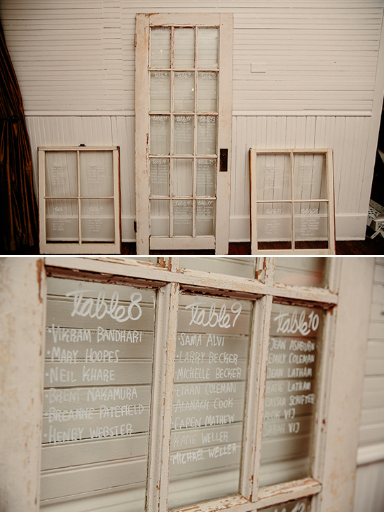Old door and windows used for seating chart windows @weddingchicks