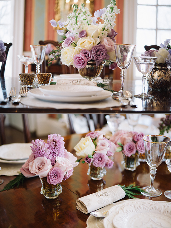 purple and ivory reception roses @weddingchicks