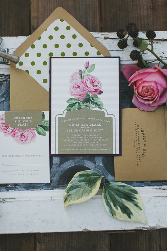 rose and polka dot wedding stationery @weddingchicks