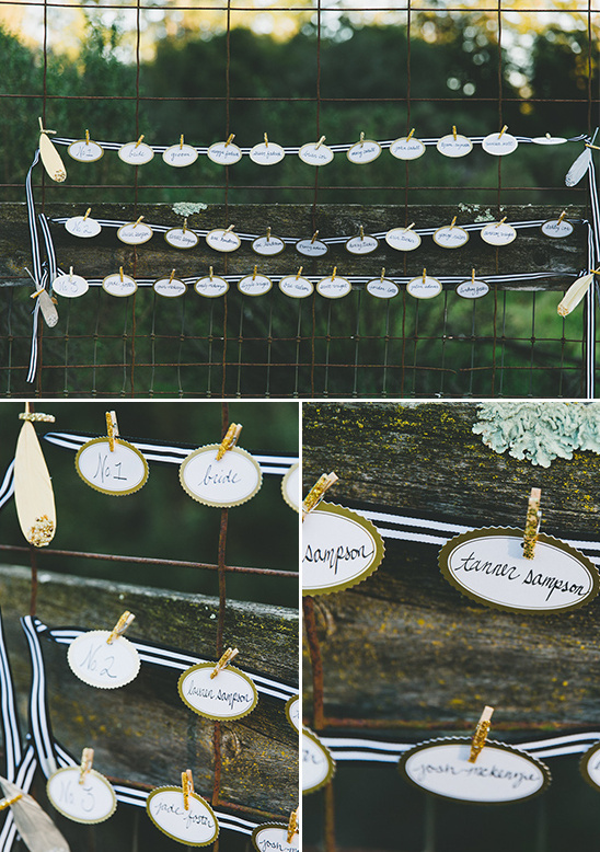 hanging oval escort cards @weddingchicks