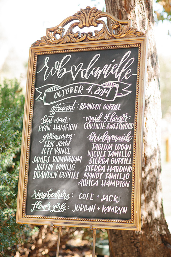 framed chalkboard wedding program @weddingchicks