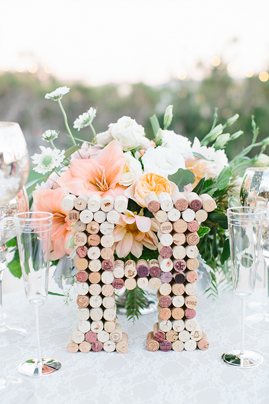 cork monogram wedding decor @weddingchicks